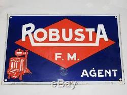 12e1 Ancienne Plaque Tôle Émaillée Publicitaire Machine A Lessiver Robusta 1949