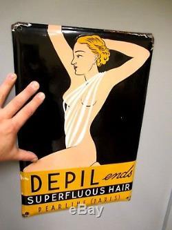 1930 Plaque émaillée Très beau design Femme Nue DEPIL Pearline Paris Pop Art