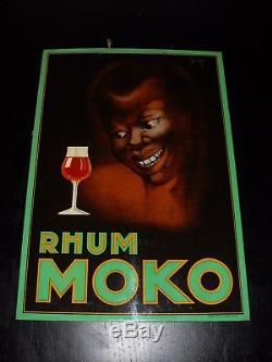 1930 Rhum MOKO (Bordeaux) Carton Glacoide publicitaire original