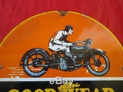 1936 GOODYEAR PLAQUE EMAILLEE Moto Pneus SIGNE Harley Indian Triumph BSA