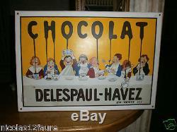 1 Plaque emaillee chocolat Delespaul Havez Emailleschild enamel 60 x 42 cm