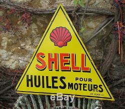 1 X Plaque Emaillee Shell Triangulaire. Hauteur 67 CM / Largeur 77,5 CM