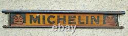 1 / étagère a pneus MICHELIN bandeau ou tole d'époque grand modèle 85 x 13 cm