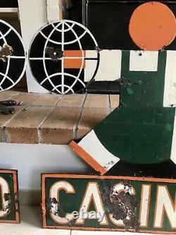 2 Ancienne Plaque Emaillée CASINO Cassandre 68x74cm Années 30 Avec Potence