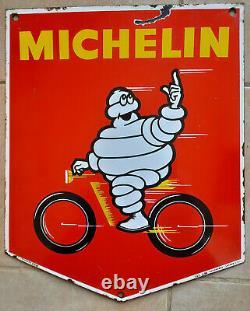 2 Anciennes Plaques Emaillées MICHELIN BIBENDUM 38X45cm automobile garage moto