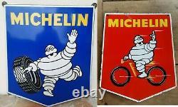 2 Anciennes plaques émaillées MICHELIN Bibendum Garage Automobilia années 50