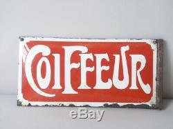 2 Plaques émaillées COIFFEUR, Potence Coiffeur début XX ème siècle
