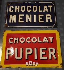 2 plaques emaillees MENIER PUPIER