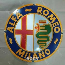 78CM GRANDE plaque emmaillée ALEFA ROMEO