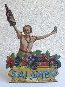 A2697 @ Tres Rare Presentoir En Tole Litho Vin Salambo