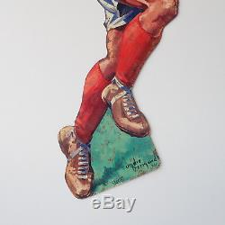A3164 @ Rare Tole Pin Up Huile Vall Oil Rugbyman Signee Andre Bermond