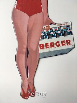 A3168 @ Tres Rare Pub Pin Up Berger 45 Anisade En Tole Signee Ducatez