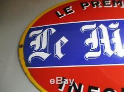AH751 LE MATIN PREMIER INFORME PLAQUE EMAILLEE OVALE BOMBEE 50x35 cm BON ETAT