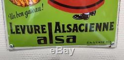 ALSA Levure Alsacienne Plaque émaillée bombée, quasi neuve, EAS