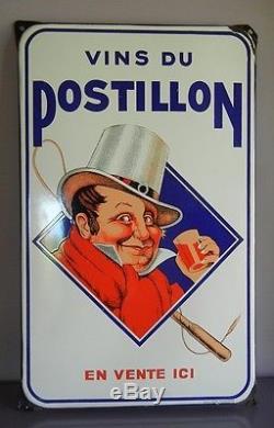 Ancienne Belle Plaque Emaillee Vins Du Postillon