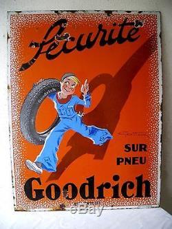 Ancienne Grande Plaque Emaillee Geo Ham Pneu Goodrich Double Face