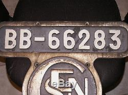 ANCIENNE PLAQUE DE LOCOMOTIVE BB-66283 SNCF très rare superbe