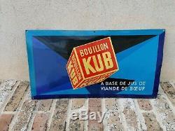 ANCIENNE PLAQUE ÉMAILLÉE BOMBÉE BOUILLON KUB D'APRES SEPO restaurée