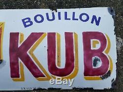 ANCIENNE PLAQUE EMAILLEE BOMBEE PUBLICITAIRE BOUILLON KUB RC SEINE ED Jean PARIS