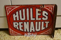 ANCIENNE PLAQUE EMAILLEE DOUBLE FACE HUILE RENAULT ANNEES 30