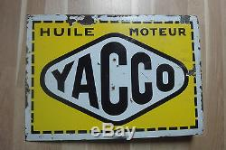 ANCIENNE PLAQUE EMAILLEE HUILE MOTEUR YACCO RECTO VERSO