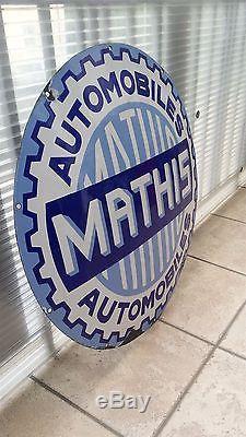 Ancienne Plaque Emaillee Mathis 70cm Automobile Garage Usine Jielde Industriel