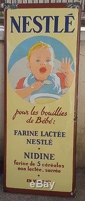 ANCIENNE PLAQUE EMAILLEE NESTLE bouillies de Bebe. /EN VENTE ICI/E. STRASBOURG