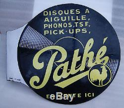 ANCIENNE PLAQUE EMAILLEE PATHE PHONOS TSF PICK-UPS DISQUES A AIGUILLES ED JEAN