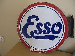 ANCIENNE PLAQUE EMAILLEE RONDE ESSO DOUBLE FACE A EQUERRE E. A. S 1925 1927