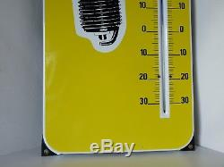 ANCIENNE PLAQUE ÉMAILLÉE Thermomètre bougie EYQUEM a oreilles années 60