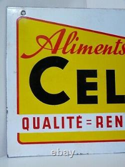 ANCIENNE PLAQUE EMAILLEE aliments CELLE Émaillerie Alsacienne Strasbourg EAS