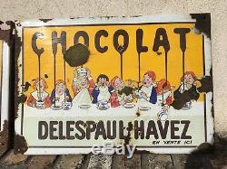 ANCIENNE PLAQUE EMAILLE DELESPAUL HAVEZ Chocolat Lille