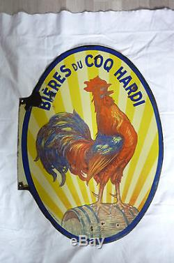Ancienne Plaque Email Biere Du Coq Hardi Double Face Emaillerie Koekelberg