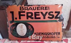 Ancienne Plaque Émaillée Bombée Brasserie J. Freysz