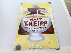 Ancienne Plaque Émaillée Bombée Simple Face Malt Kneipp Pur Jus No Copy