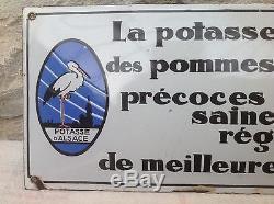 Ancienne Plaque Émaillée Bombée Simple Face Potasse D Alsace Pur Jus No Copy