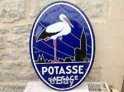 Ancienne Plaque Émaillée Simple Face Potasse D Alsace Pur Jus