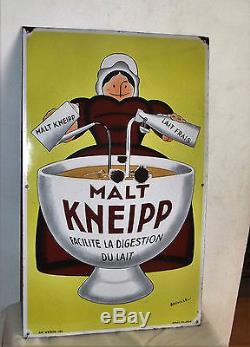 Ancienne Superbe Plaque Emaillee Malt Kneipp Beuville 80 CM X 50 CM