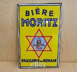 ANCIENNE plaque émaillée strasbourg MORITZ Bières Brasserie du romain