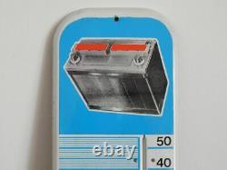 ANCIEN Thermomètre Plaque en Tôle émaillée PUBLICATAIRE BATTERIE FULMEN