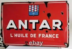 ANTAR Grande PLAQUE EMAILLEE 1950 Publicite VOX 80 x 120 Email HUILE de FRANCE