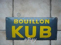 ANTIQUE ORIGINAL rare plaque émaillée bombée BOUILLON KUB années1917 1920
