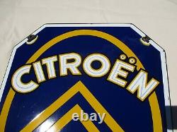 AO786 PLAQUE EMAILLEE CITROEN AGENCE 60X46cm BON ETAT ENAMEL PORCELAIN SIGN