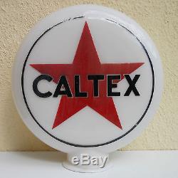 AUTHENTIQUE OPALINE CALTEX POMPE A ESSENCE BIDON HUILE GAS PUMP OIL CAN