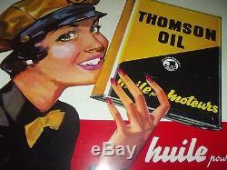 Authentique Plaque Ancienne Tole Pinup Huile Thomson Oil Moteur