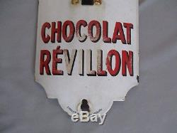 Ag896 Plaque Emaillee Ancienne Thermometre Chocolat Revillon 98 CM
