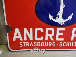 Ah845 Plaque Emaillee Ancienne Biere Ancre Pils Emailleries Strasbourg Original