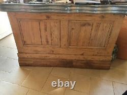 Ancien Comptoir Zinc De Bistrot Petit Format Pitchpin 1920 Bar Café Estaminet