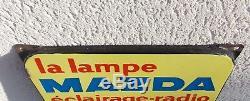 Ancien Grand Thermometre Emaillee Publicitaire Lampe Mazda Garage Auto Radio