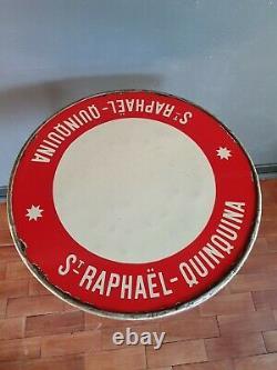 Ancien Guéridon plaque émaillée Saint-Raphaël Quinquina bistrot publicitaire